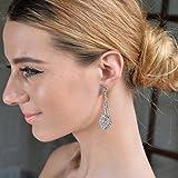 EVER FAITH® Austrian Crystal Wedding Chandelier Art Deco Earrings Silver-Tone