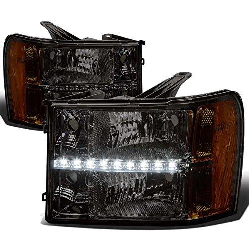 gmc-sierra-gmt-900-replacement-headlight-w-led-running-light-assembly-kit-smoke-lens-amber-reflector