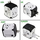 Worldwide Travel Adapter Premium Universal International Plug [US UK EU AU about 150 countries] with Dual USB Charging Ports & Universal AC Socket, Safety Fused (White)