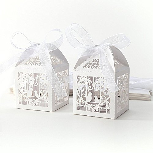 50pcs Laser Cut Pearl Paper Party Wedding Favor Ribbon Candy Boxes Gift Box (Classical Bird)