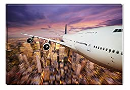 Startonight Wall Art Canvas A Plane My Room!, Grunge USA Design for Home Decor, Dual View Surprise Artwork Modern Framed Ready to Hang Wall Art 23.62 X 35.43 Inch 100% Original Art Painting!