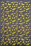 Jaipurrugs Machine Made Lustrous Finish Art Silk Chenille Black Yellow Pixel Rectangle Rug Border Color Green 9x12