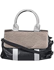 Moda King Women's Handbag (Black And Dark Silver)