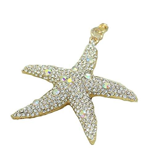 Alta qualità, motivo stella marina con diamante-Portachiavi con charm a forma di borsetta, borsa a tracolla