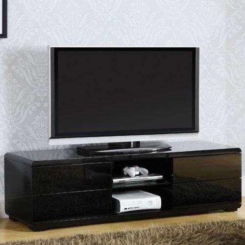 Image of Cerro Contemporary Style Glossy Black Finish TV Stand Console (CM5530BK-TV)