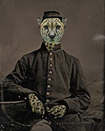 Civil War CHEETAH Soldier portrait altered cat man anthro art print