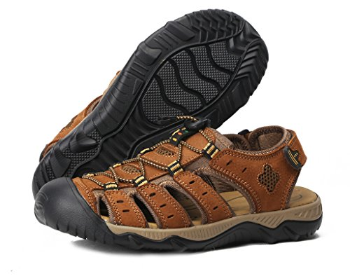 4How Men's Leather Sandal Outdoor Shoes Tan US10.5 M - 1