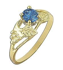 buy 14K Yellow Gold Flower Leaf Light Blue Cubic Zirconia Diamond Fashion Ring