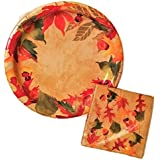 Autumn Fall Leaves Party Paper Plates and Napkins Set