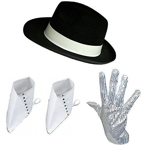 [Michael Jackson Black Hat Sequin Glove and White Spats Fancy Dress Kit by Blue Planet Online] (Michael Jackson Hat And Glove)