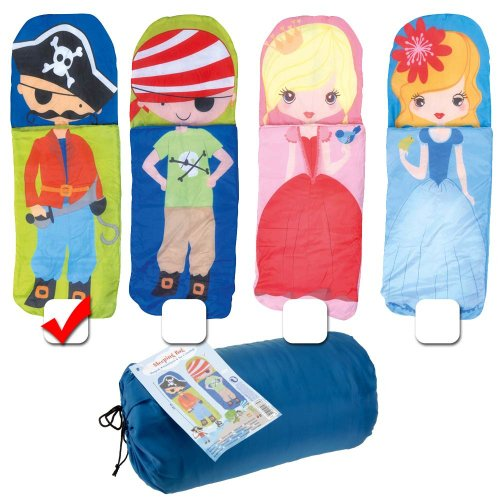 CHILDRENS CUTE LIGHT WEIGHT SLEEPING BAG, CHOOSE FROM DIFFERENT DESIGNS EITHER PIRATE FOR BOYS, OR PRINCESS FOR GIRLS (ONE ONLY SUPPLIED)