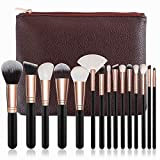Best Quality - Eye Shadow Applicator - Pro 15pcs Makeup Brushes Set Powder Foundation Eyeshadow Make Up Brushes Cosmetics Soft Synthetic Hair with Leather Case - by Mariahanan - 1 PCs (Color: 15pcs Brown with Bag)