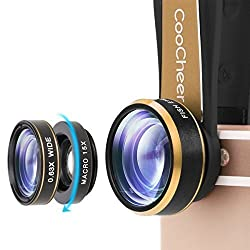 Coocheer Fisheye Camera Lens 3 in 1 Kit 198 Degree Clip On Fisheye Lens,15x Macro Lens 0.63x Wide Angle Lens for Iphone, Camera, Laptops, Ipads(Gold)