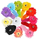 12 Pcs Assorted Color Colorful Daisy Flower Hair Accessories Headband Headbands Head Band for Girls Baby Newborn Child Kids Toddler Infant