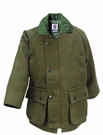 WWK Kids Childrens Derby Tweed Jackets Breathable Waterproof Shooting Hunting Fishing (Size 20 - Ages 1/2, Dark Green)