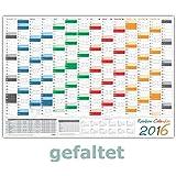 Rainbow Wandkalender / Wandplaner 2016 - gefaltet DIN A2 Format (594 x 420 mm) mit 14 Monaten, kompletter Jahresvorschau 2017 und Ferientermine/Feiertage aller Bundesländer