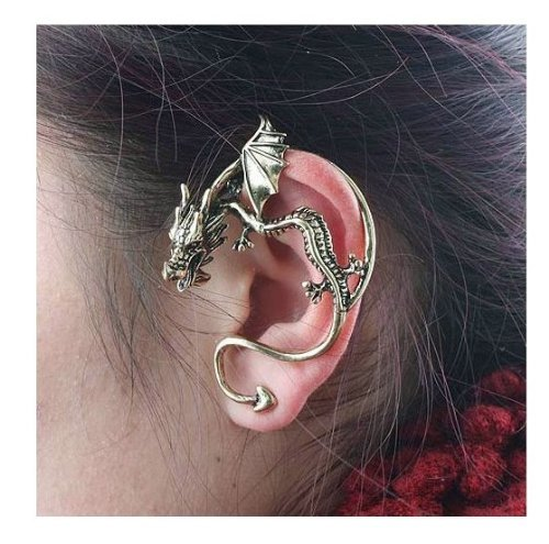 Buyinhouse Ornaments for Lady Girl Classic Dragon Ear Wrap Cuff Earring Stud Earrings Punk Rock Left Ear