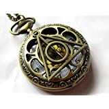 Harry Potter Deathly Hollows Pocket Watch Necklace,gl Dial Pocket Watch