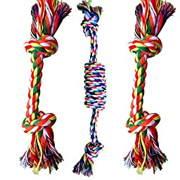 WAF Set of 3 Cotton Rope Chew Toy Knot Rope Dog Tug Toys for Chewing Tugging Playing