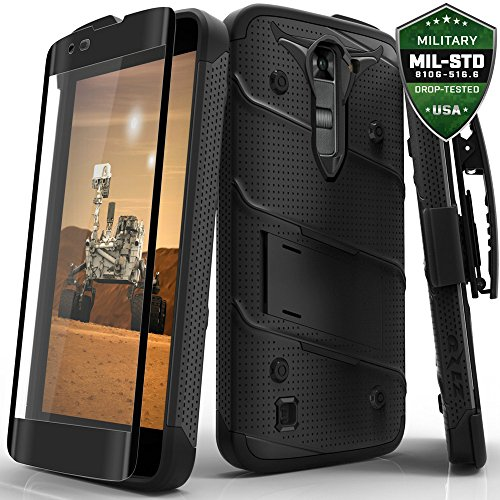 LG K7 / LG Tribute 5 LS675 / LG Escape 3 Case, Zizo Bolt Cover [.33m 9H Curved Full Glass Tempered Screen Protector] Included [Military Grade] Clip (Lg Phone Case Cover compare prices)
