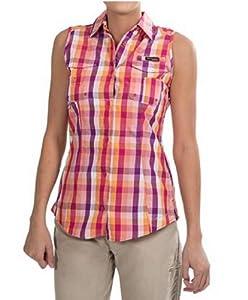 Columbia Women's Super Bonehead Sleeveless Shirt, Medium, Bright Rose/Large Multi Check