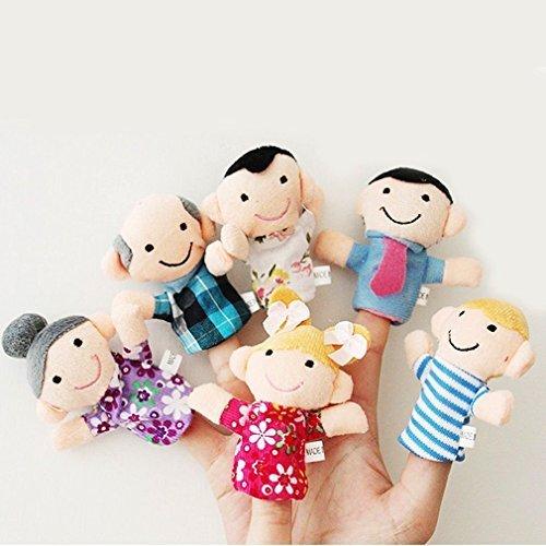 Minkle 6 Pc felpa suave de la familia de mi dedo de la marioneta del abuelo de la abuela Incluye Brother de la hermana mamá papá