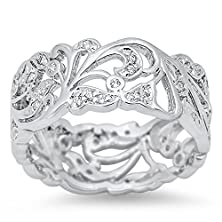 buy Cutout Eternity White Cz Polished Ring New .925 Sterling Silver Band Size 12 (Rng14728-12)