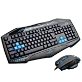 Doinshop High DPI LED Blue Ray PC USB Wired Game Keyboard +2400DPI 7D Game Mouse