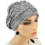 Hats for You Women's Shirred Chemo Cap, Salt and Paper, One Size