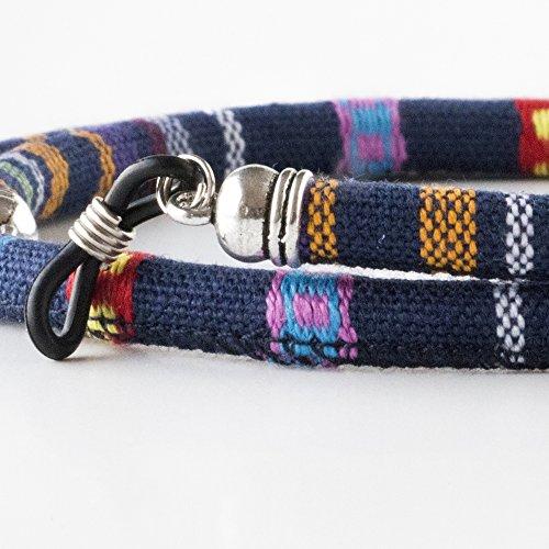 Cordón redondo de gafas estampado étnico azul marino rojo