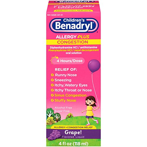 Children's Benadryl-D Allergy and Sinus Liquid, 4 Fluid Ounce (Benadryl Children Grape compare prices)
