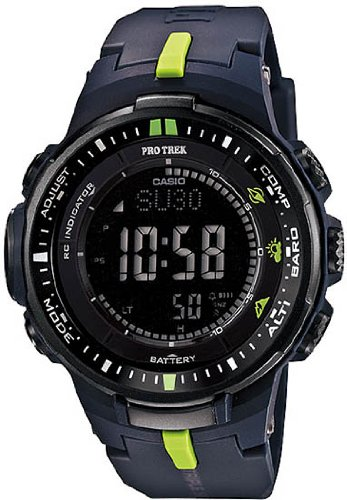 Casio Men's PRW-3000-2CR Protrek Black Small Triple Sensor Multi-Function Watch