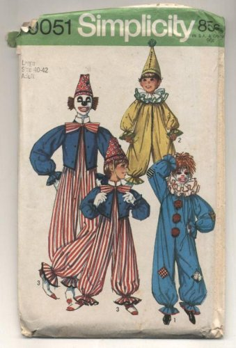 Vintage Simplicity Clown Costume Sewing Pattern #9051 Size MEDIUM 36-38 (Clown Costume Patterns)