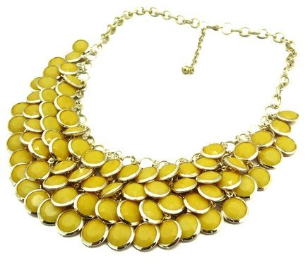 Chunky Multi Layers Resin Gem Round Beads Statement Bib Collar Necklace(wp-53)