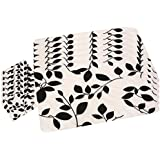 Winner Black & White Floral Print Table Placemats - 6 Piece Dining Mats/Table Mats With 6 Piece Coasters