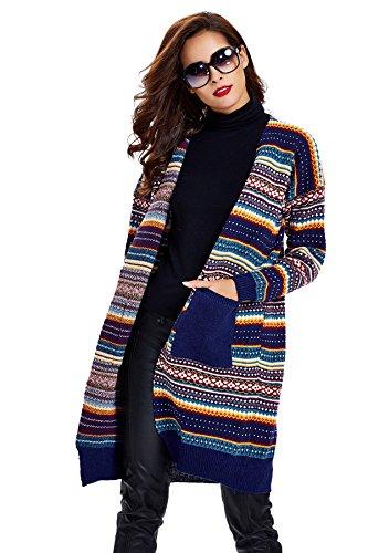 Women's Twist Pockets School Wear Sweater Loose Long Knit Cardigan,Dark Blue,One Size
