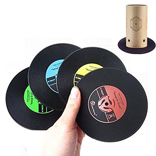 seewonder-4-piece-retro-vinyl-coaster-set-cd-record-style-coffee-drink-cup-mat-silicone-coasters