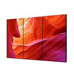 Red Canyon Abstract Modular Picture Painting for Home Decor Modern Wall Art for Living Room Picture Hd Canvas 3pcs(unframed)