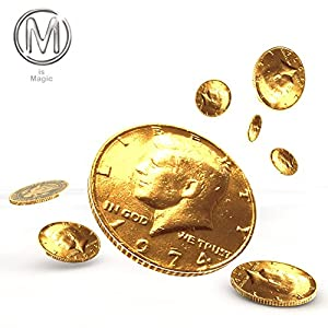 M is Magic Gold Electroplated Coin Half Dollar Size ***For Magic Tricks only*** Not Intended for Buying