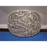 1991 Hesston Belt Buckle -- Bull Riding -- Pewter