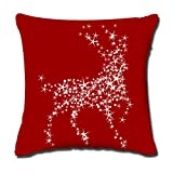 "Christmas Popular Throw Pillow-Cotton Linen Square Decorative Throw Pillow Case Cushion Cover Diamond Reindeer in Red Background Pillow Cover/Best Christmas Gifts for Your Friends/Pefect Size:18""x18 """