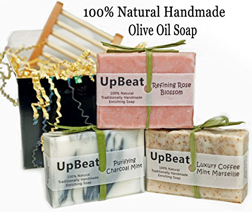 Natural-Soap-Bar-Gift-Set-3-Handmade-Organic-Olive-Oil-Soaps-with-Coconut-Oil-Activated-Charcoal-Soap-PurifiesCoffee-Soap-ExfoliatesMoisturizing-Rose-Herbal-Soap-CleansesGreat-Gift-Idea-for-All