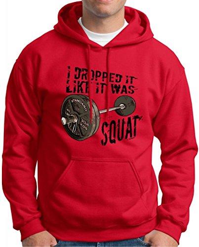 Dropped It Like It Was Squat Premium Hoodie Sweatshirt Small Red