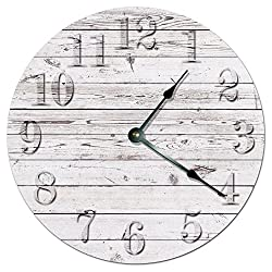 RUSTIC BEACH BOARD CLOCK Decorative Round Wall Clock Home Decor Wall Clock Large 10.5 Novelty Clock PRINTED WHITE WOOD BOARDS
