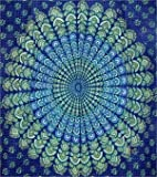 Cotton Sanganeer Peacock Print Tapestry