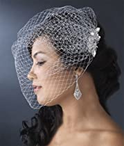 Wedding Bridal Cage Veil with Crystal Floral Comb 460
