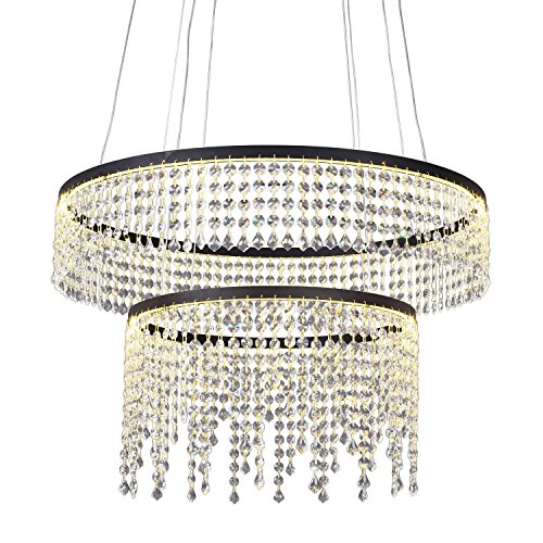 mirrea-60w-led-pendant-light-with-crystal-drum-shade-paint-finished-warm-white-two-tiers