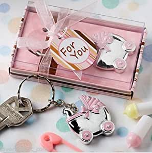 baby carriage key chain favors baby shower favor boy or girl pink