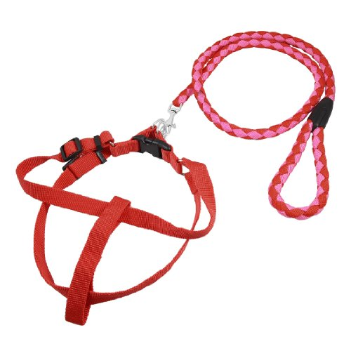 Como Pink Red Braided Nylon Rope Doggie Dog Leash Collar Halter Harness 115cm
