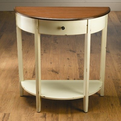 Cheap One Drawer Crescent Console Table in Distressed Cream (49854-CM)